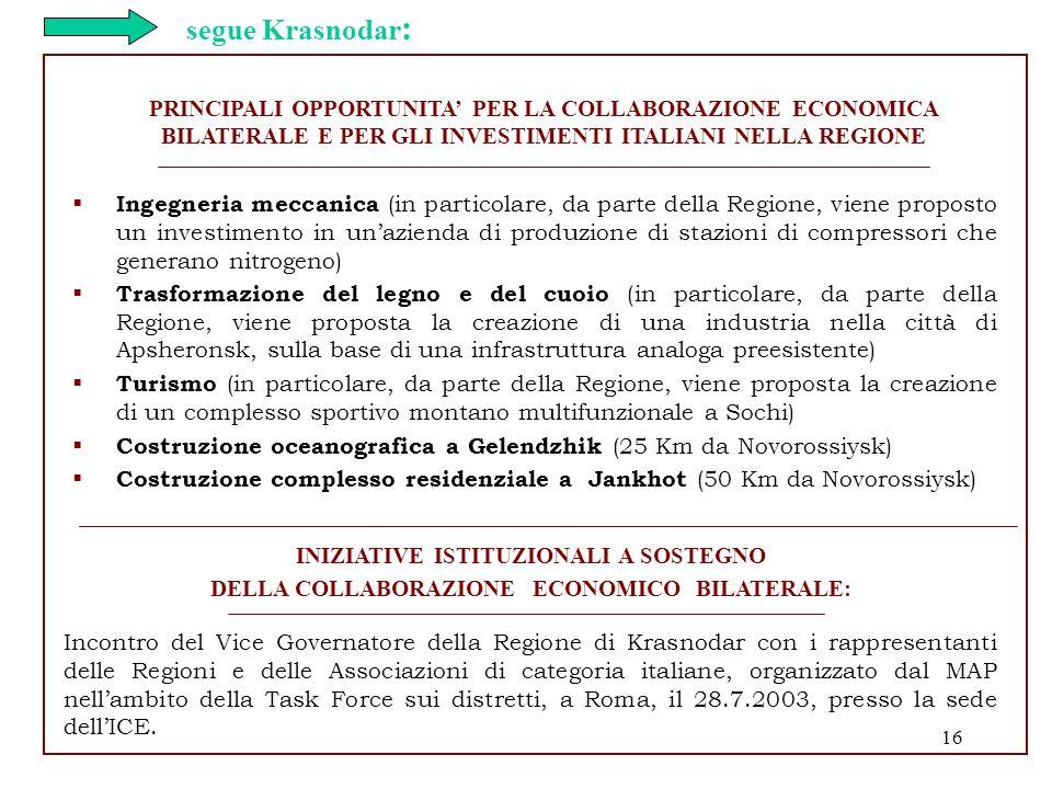 16 PRINCIPALI OPPORTUNITA PER LA COLLABORAZIONE ECONOMICA BILATERALE E PER GLI INVESTIMENTI ITALIANI NELLA REGIONE INIZIATIVE ISTITUZIONALI A SOSTEGNO