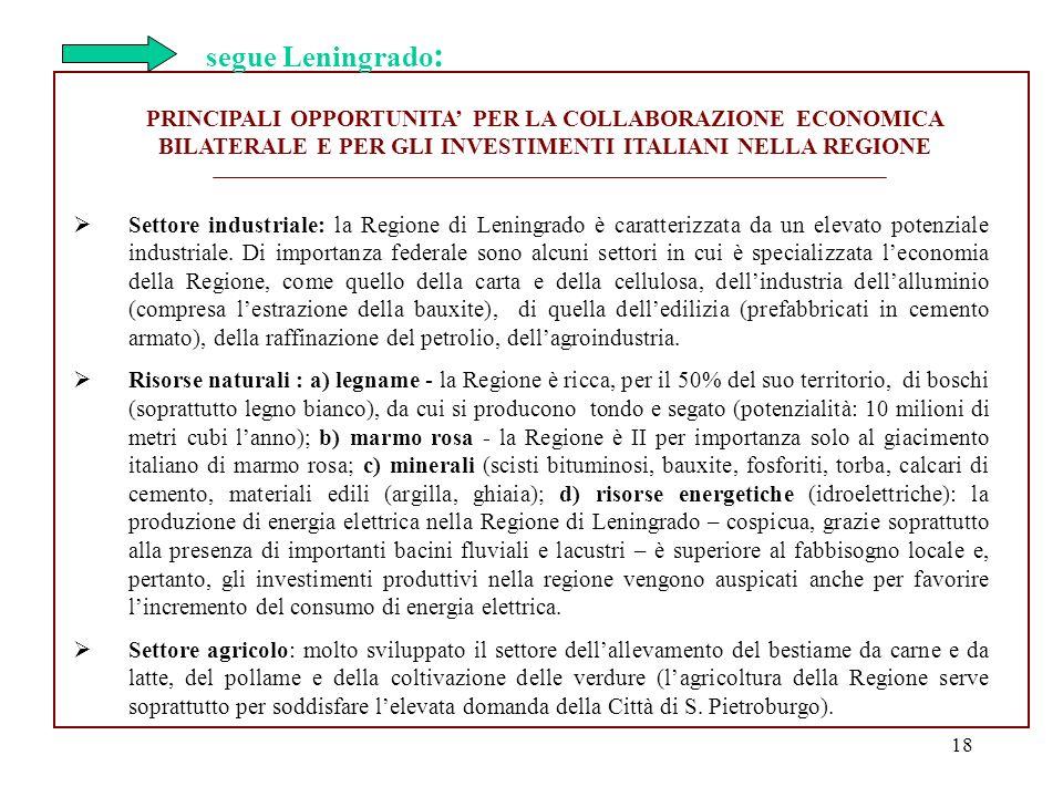 18 PRINCIPALI OPPORTUNITA PER LA COLLABORAZIONE ECONOMICA BILATERALE E PER GLI INVESTIMENTI ITALIANI NELLA REGIONE Settore industriale: la Regione di