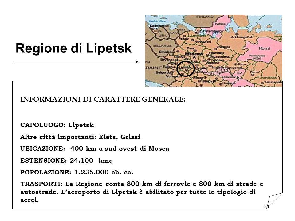 21 Regione di Lipetsk INFORMAZIONI DI CARATTERE GENERALE: CAPOLUOGO: Lipetsk Altre città importanti: Elets, Griasi UBICAZIONE: 400 km a sud-ovest di M