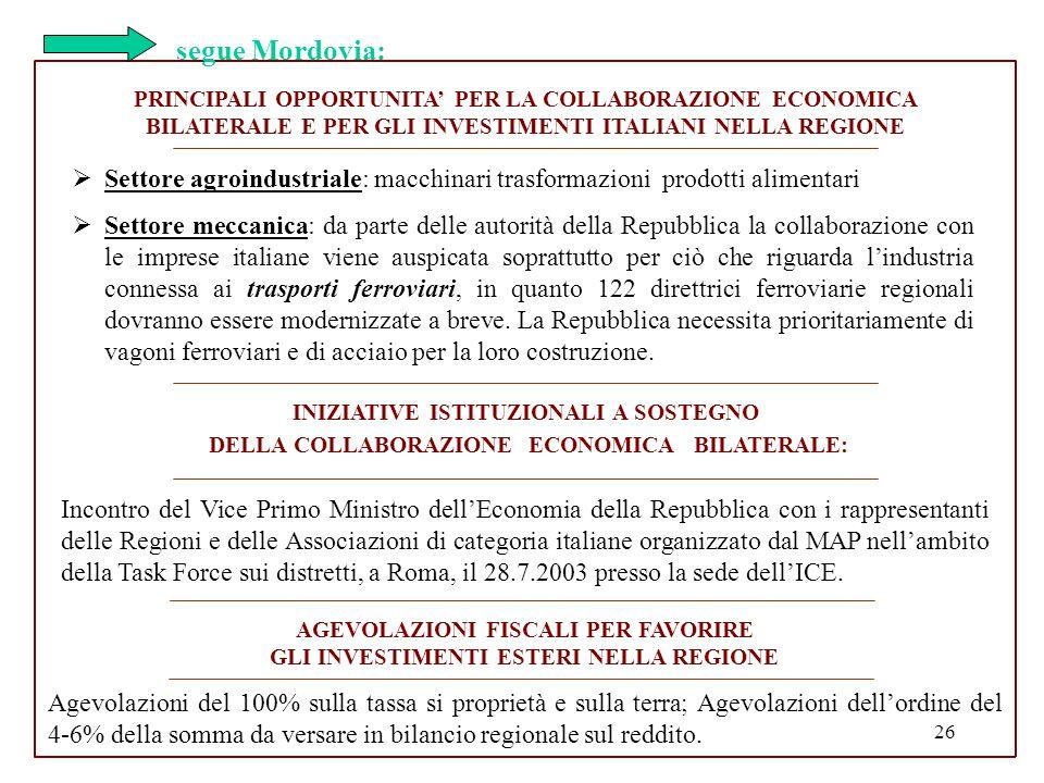 26 PRINCIPALI OPPORTUNITA PER LA COLLABORAZIONE ECONOMICA BILATERALE E PER GLI INVESTIMENTI ITALIANI NELLA REGIONE Settore agroindustriale: macchinari