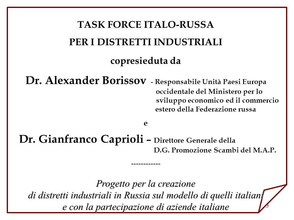 3 TASK FORCE ITALO-RUSSA PER I DISTRETTI INDUSTRIALI copresieduta da Dr. Alexander Borissov - Responsabile Unità Paesi Europa occidentale del Minister