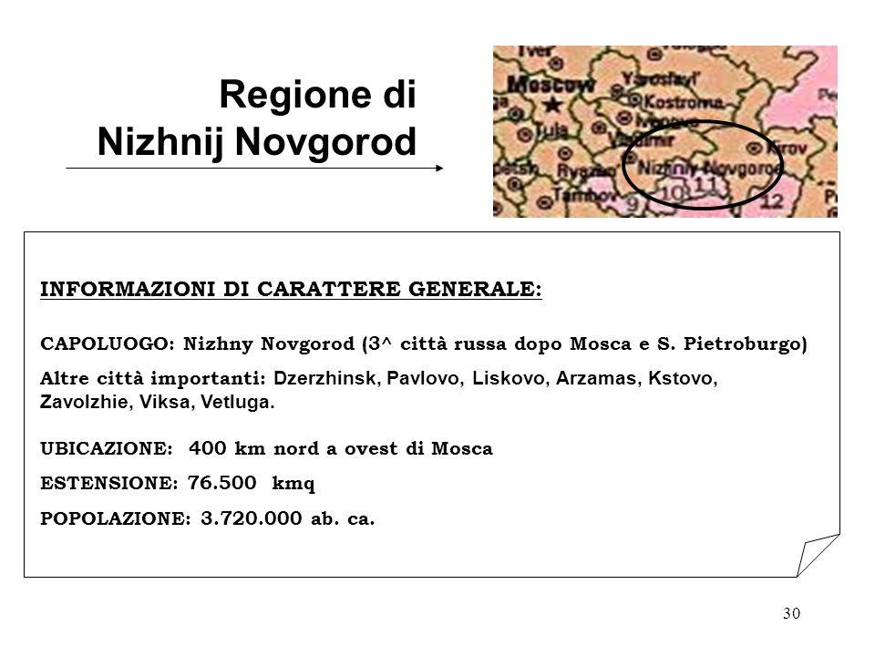 30 Regione di Nizhnij Novgorod INFORMAZIONI DI CARATTERE GENERALE: CAPOLUOGO: Nizhny Novgorod (3^ città russa dopo Mosca e S. Pietroburgo) Altre città