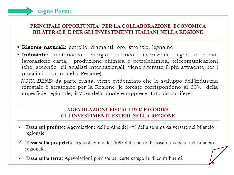 39 PRINCIPALI OPPORTUNITA PER LA COLLABORAZIONE ECONOMICA BILATERALE E PER GLI INVESTIMENTI ITALIANI NELLA REGIONE segue Perm: Tassa sul profitto: Age
