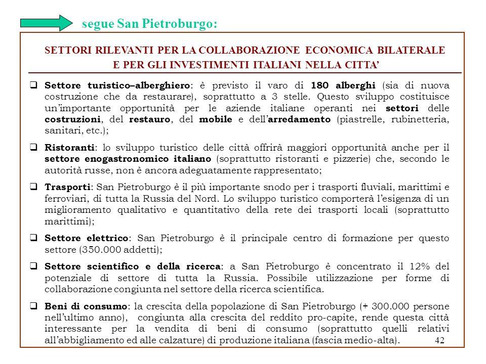 42 SETTORI RILEVANTI PER LA COLLABORAZIONE ECONOMICA BILATERALE E PER GLI INVESTIMENTI ITALIANI NELLA CITTA Settore turistico–alberghiero : è previsto
