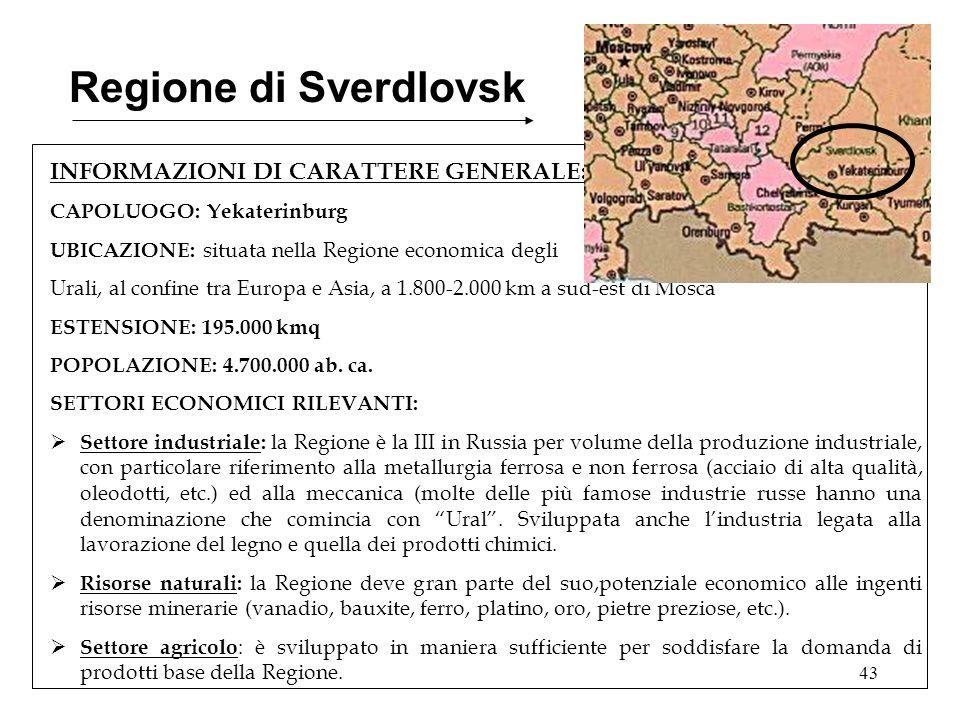 43 Regione di Sverdlovsk INFORMAZIONI DI CARATTERE GENERALE: CAPOLUOGO: Yekaterinburg UBICAZIONE: situata nella Regione economica degli Urali, al conf