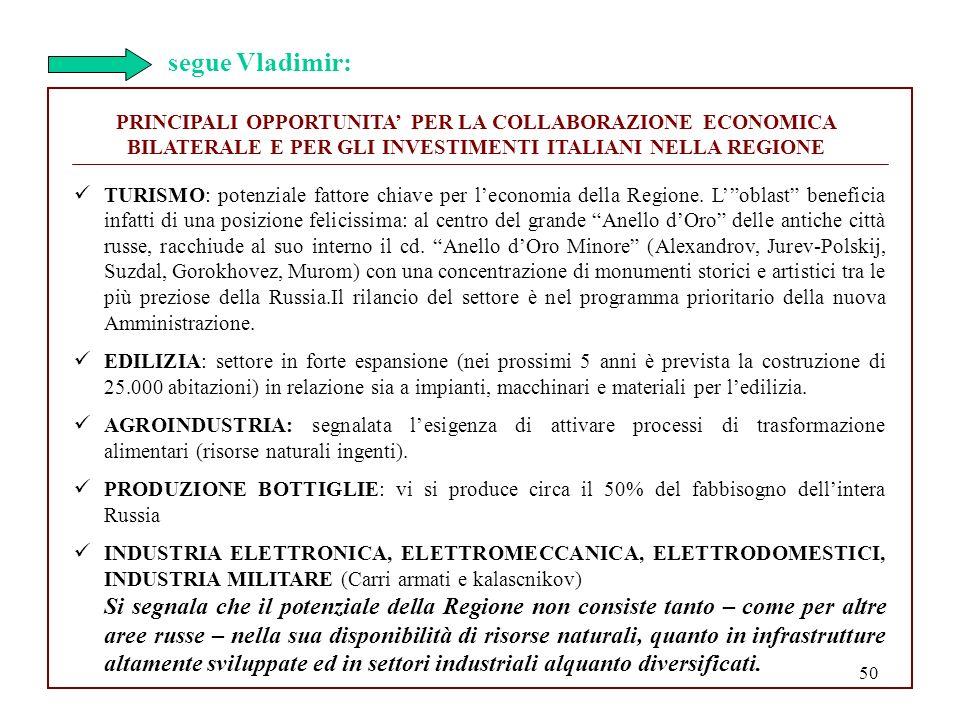 50 PRINCIPALI OPPORTUNITA PER LA COLLABORAZIONE ECONOMICA BILATERALE E PER GLI INVESTIMENTI ITALIANI NELLA REGIONE TURISMO: potenziale fattore chiave