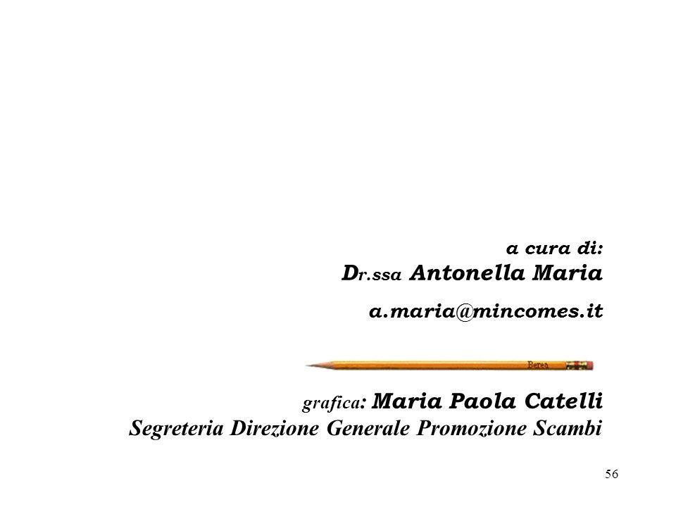 56 grafica : Maria Paola Catelli Segreteria Direzione Generale Promozione Scambi a cura di: D r.ssa Antonella Maria a.maria@mincomes.it