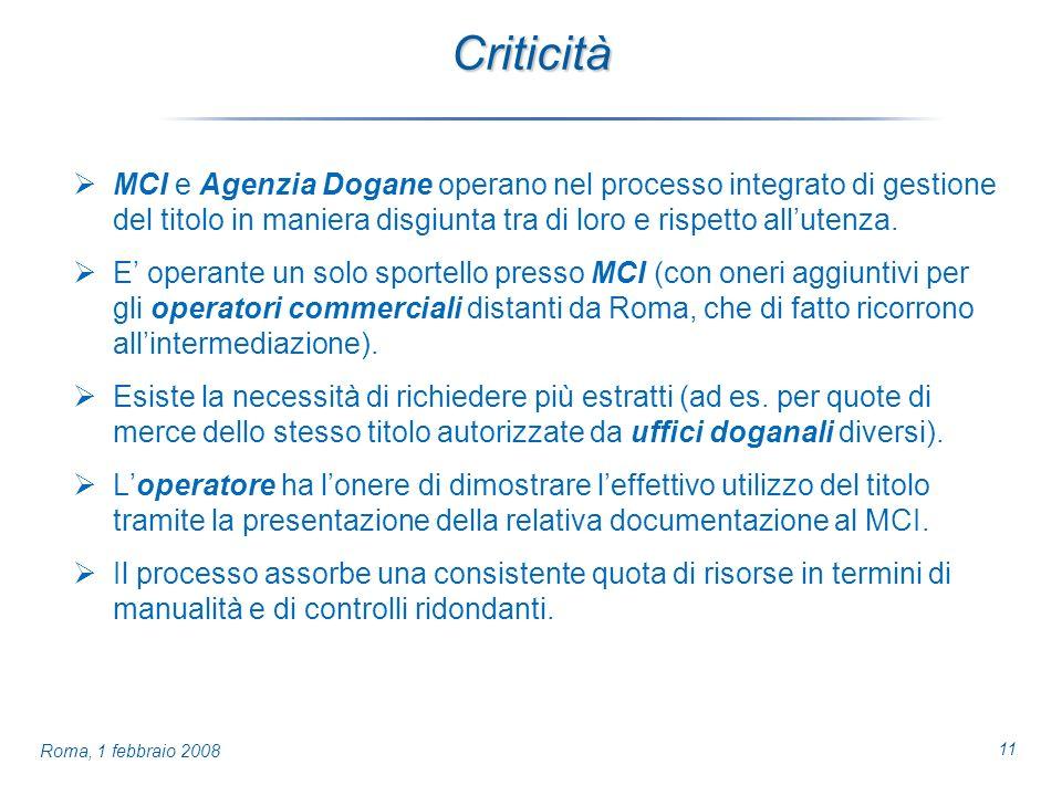 11 Roma, 1 febbraio 2008 Criticità MCI e Agenzia Dogane operano nel processo integrato di gestione del titolo in maniera disgiunta tra di loro e rispetto allutenza.