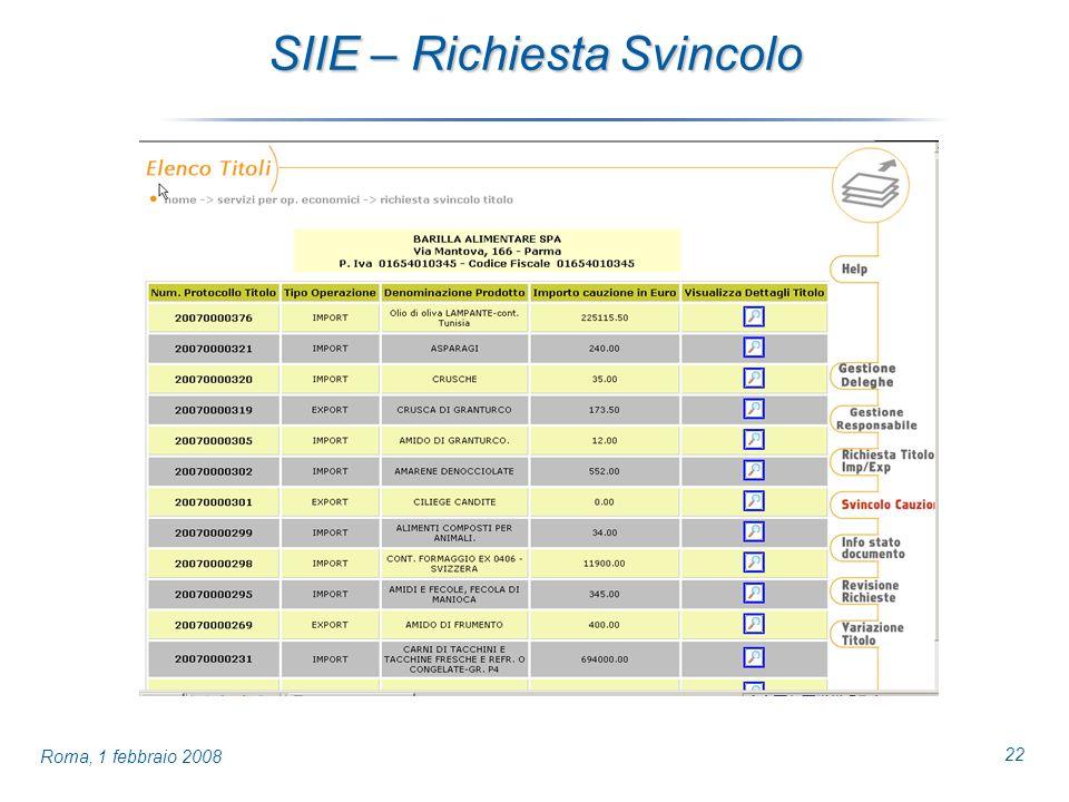 22 Roma, 1 febbraio 2008 SIIE – Richiesta Svincolo