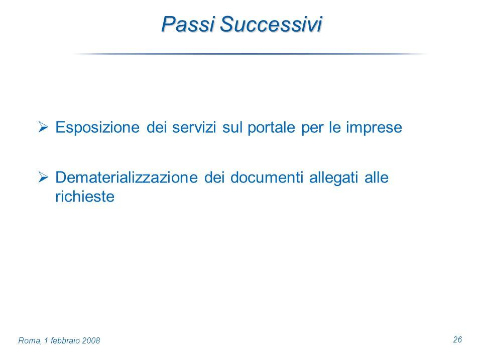 26 Roma, 1 febbraio 2008 Passi Successivi Esposizione dei servizi sul portale per le imprese Dematerializzazione dei documenti allegati alle richieste