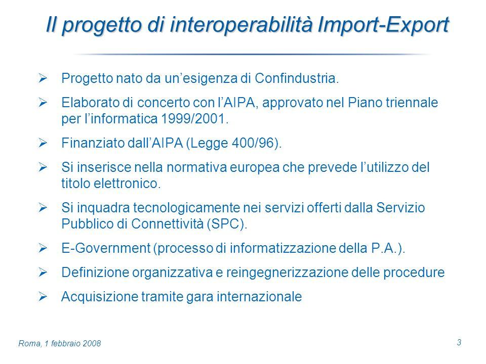 3 Roma, 1 febbraio 2008 Il progetto di interoperabilità Import-Export Progetto nato da unesigenza di Confindustria.