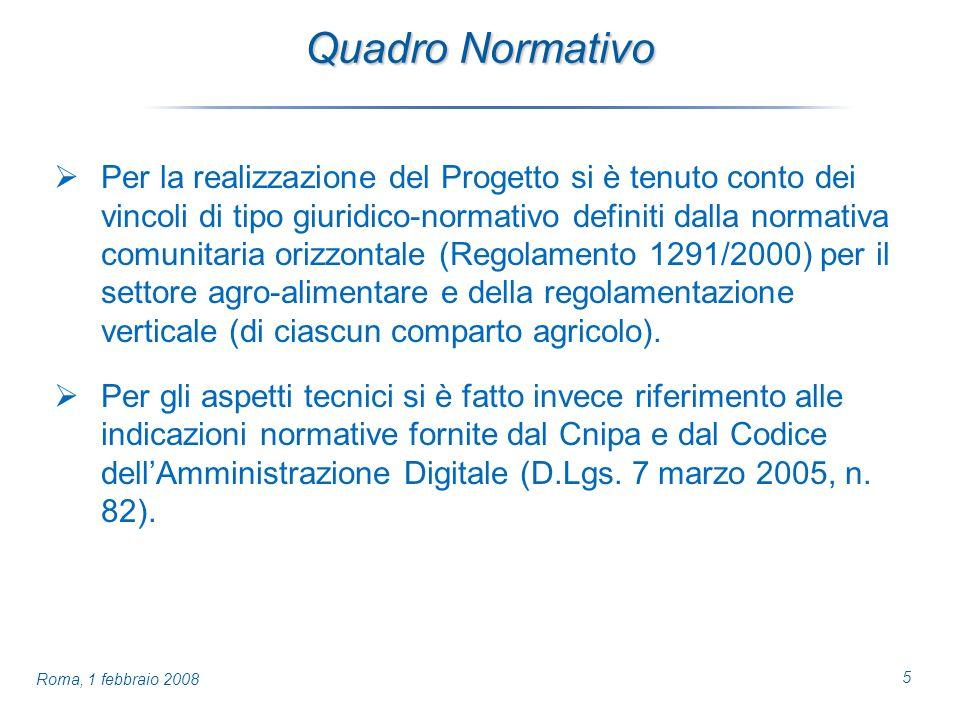 5 Roma, 1 febbraio 2008 Quadro Normativo Per la realizzazione del Progetto si è tenuto conto dei vincoli di tipo giuridico-normativo definiti dalla normativa comunitaria orizzontale (Regolamento 1291/2000) per il settore agro-alimentare e della regolamentazione verticale (di ciascun comparto agricolo).