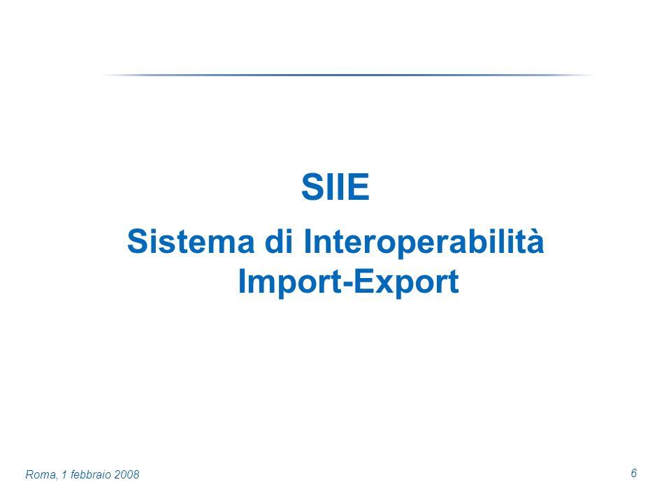 6 Roma, 1 febbraio 2008 SIIE Sistema di Interoperabilità Import-Export