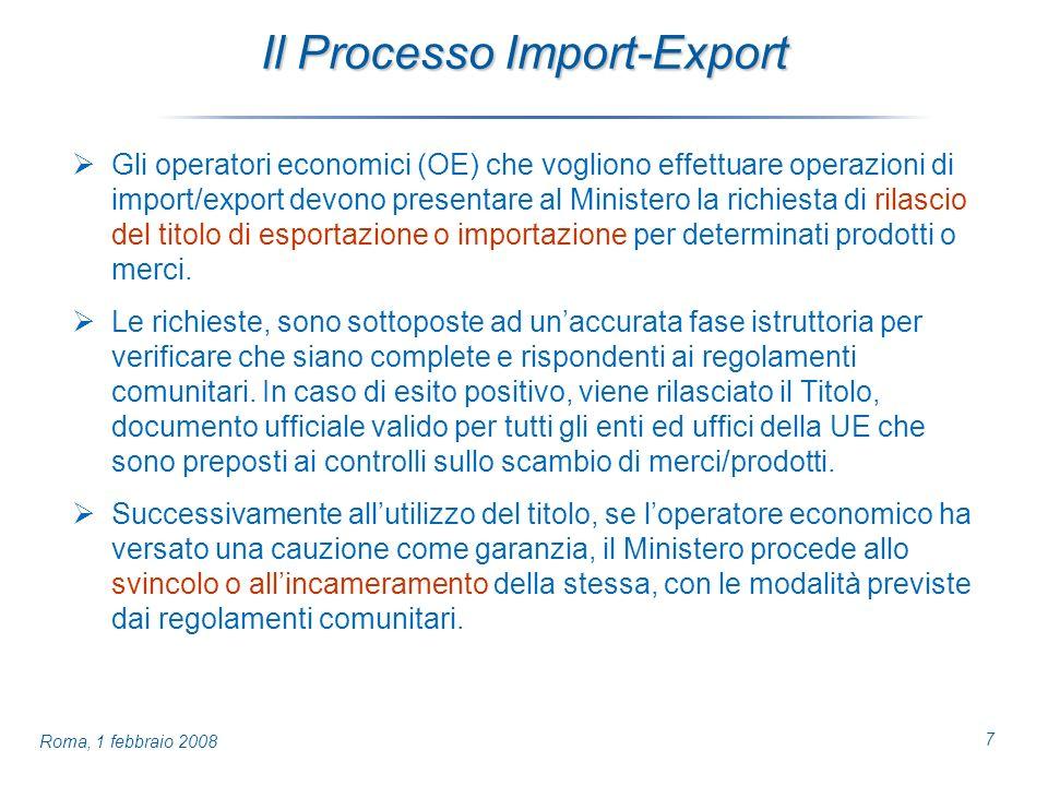 7 Roma, 1 febbraio 2008 Il Processo Import-Export Gli operatori economici (OE) che vogliono effettuare operazioni di import/export devono presentare al Ministero la richiesta di rilascio del titolo di esportazione o importazione per determinati prodotti o merci.