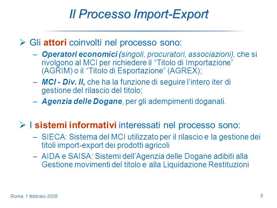 8 Roma, 1 febbraio 2008 Il Processo Import-Export Gli attori coinvolti nel processo sono: –Operatori economici (singoli, procuratori, associazioni), che si rivolgono al MCI per richiedere il Titolo di Importazione (AGRIM) o il Titolo di Esportazione (AGREX); –MCI - Div.