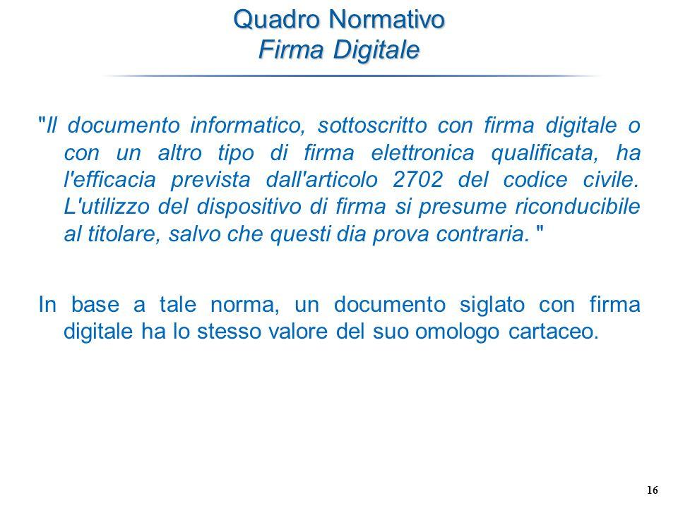 16 Quadro Normativo Firma Digitale