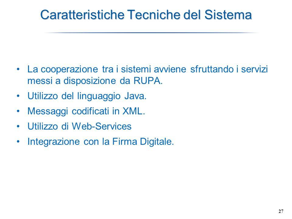 27 Caratteristiche Tecniche del Sistema La cooperazione tra i sistemi avviene sfruttando i servizi messi a disposizione da RUPA. Utilizzo del linguagg