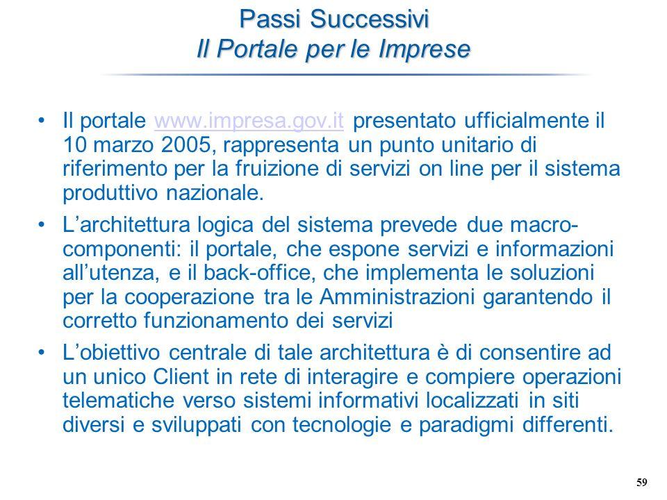 59 Passi Successivi Il Portale per le Imprese Il portale www.impresa.gov.it presentato ufficialmente il 10 marzo 2005, rappresenta un punto unitario d