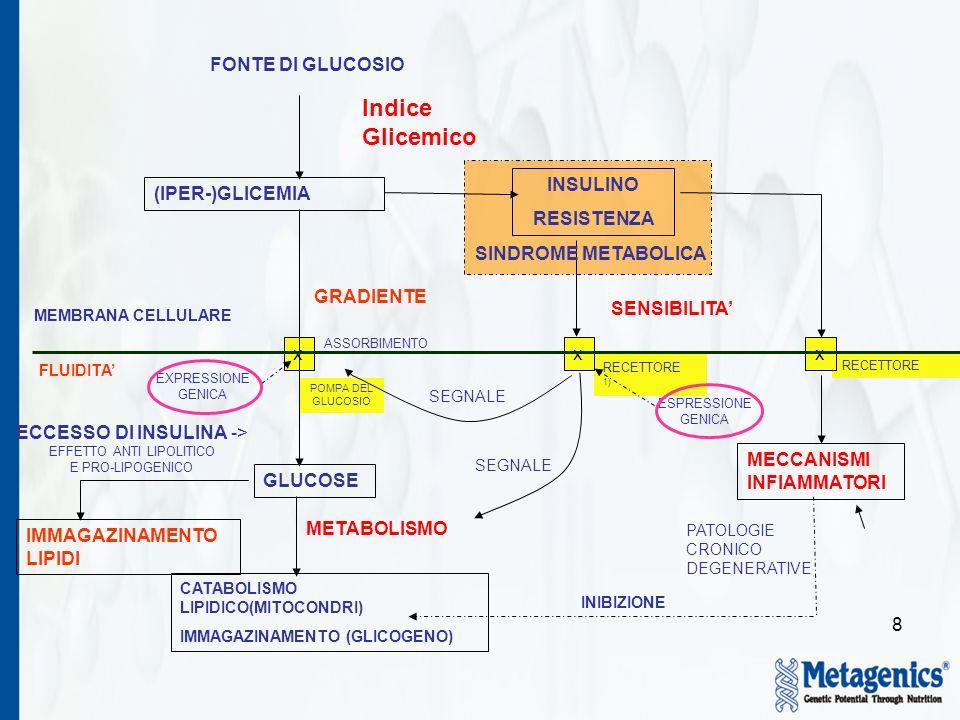 8 POMPA DEL GLUCOSIO FONTE DI GLUCOSIO ECCESSO DI INSULINA -> EFFETTO ANTI LIPOLITICO E PRO-LIPOGENICO Indice Glicemico (IPER-)GLICEMIA GRADIENTE ASSORBIMENTO EXPRESSIONE GENICA GLUCOSE METABOLISMO INSULINO RESISTENZA IMMAGAZINAMENTO LIPIDI MEMBRANA CELLULARE FLUIDITA PATOLOGIE CRONICO DEGENERATIVE RECETTORE 1) SEGNALE SENSIBILITA CATABOLISMO LIPIDICO(MITOCONDRI) IMMAGAZINAMENTO (GLICOGENO) INIBIZIONE ESPRESSIONE GENICA MECCANISMI INFIAMMATORI xxx SINDROME METABOLICA