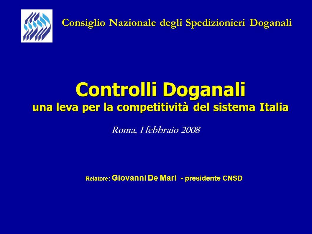 Controlli Doganali una leva per la competitività del sistema Italia Roma, 1 febbraio 2008 Consiglio Nazionale degli Spedizionieri Doganali Relatore :