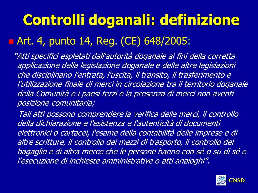 Controlli doganali: definizione Art. 4, punto 14, Reg. (CE) 648/2005: Atti specifici espletati dall'autorità doganale ai fini della corretta applicazi