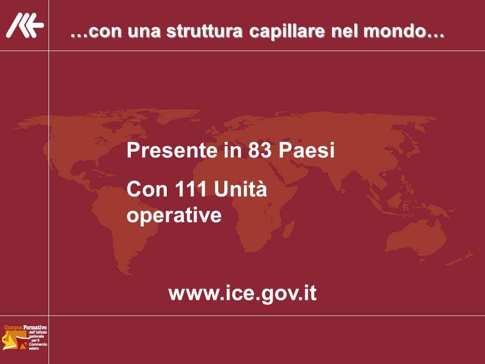 …con una struttura capillare nel mondo… Presente in 83 Paesi Con 111 Unità operative www.ice.gov.it