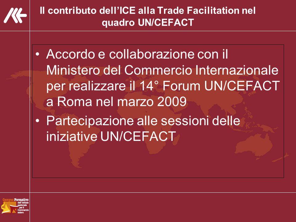 Il contributo dellICE alla Trade Facilitation nel quadro UN/CEFACT Accordo e collaborazione con il Ministero del Commercio Internazionale per realizzare il 14° Forum UN/CEFACT a Roma nel marzo 2009 Partecipazione alle sessioni delle iniziative UN/CEFACT