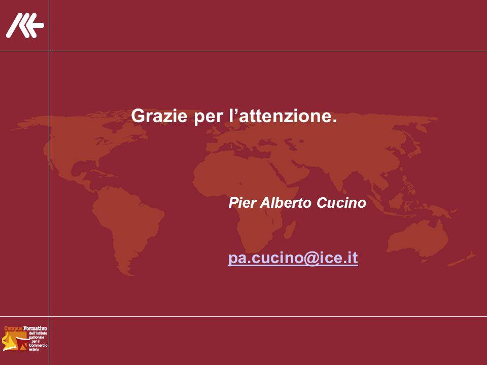 Grazie per lattenzione. Pier Alberto Cucino pa.cucino@ice.it