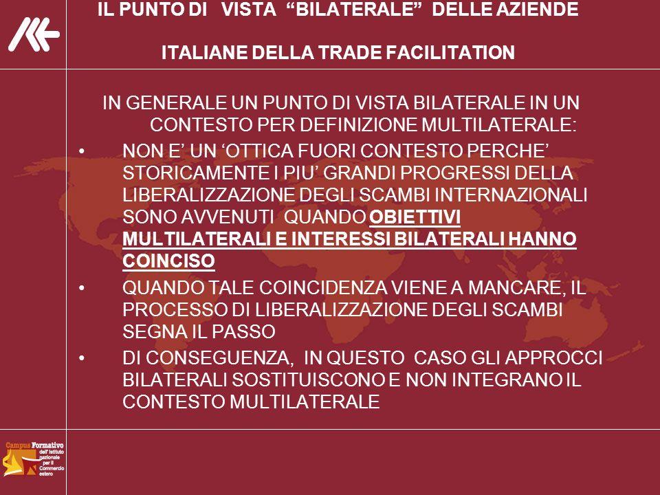 IL PUNTO DI VISTA BILATERALE DELLE AZIENDE ITALIANE DELLA TRADE FACILITATION IN GENERALE UN PUNTO DI VISTA BILATERALE IN UN CONTESTO PER DEFINIZIONE MULTILATERALE: NON E UN OTTICA FUORI CONTESTO PERCHE STORICAMENTE I PIU GRANDI PROGRESSI DELLA LIBERALIZZAZIONE DEGLI SCAMBI INTERNAZIONALI SONO AVVENUTI QUANDO OBIETTIVI MULTILATERALI E INTERESSI BILATERALI HANNO COINCISO QUANDO TALE COINCIDENZA VIENE A MANCARE, IL PROCESSO DI LIBERALIZZAZIONE DEGLI SCAMBI SEGNA IL PASSO DI CONSEGUENZA, IN QUESTO CASO GLI APPROCCI BILATERALI SOSTITUISCONO E NON INTEGRANO IL CONTESTO MULTILATERALE