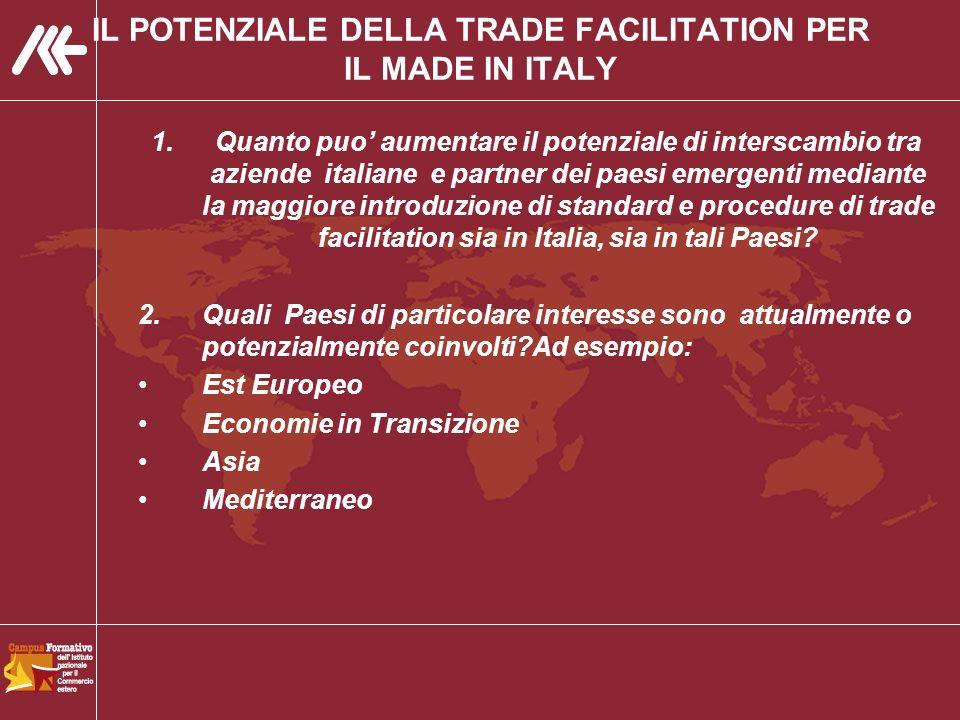 IL POTENZIALE DELLA TRADE FACILITATION PER IL MADE IN ITALY 1.Quanto puo aumentare il potenziale di interscambio tra aziende italiane e partner dei paesi emergenti mediante la maggiore introduzione di standard e procedure di trade facilitation sia in Italia, sia in tali Paesi.