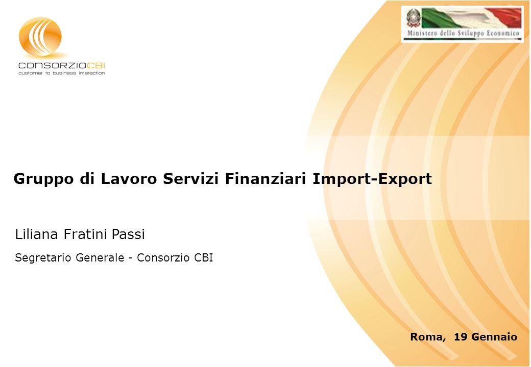 Gruppo di Lavoro Servizi Finanziari Import-Export Roma, 19 Gennaio Liliana Fratini Passi Segretario Generale - Consorzio CBI