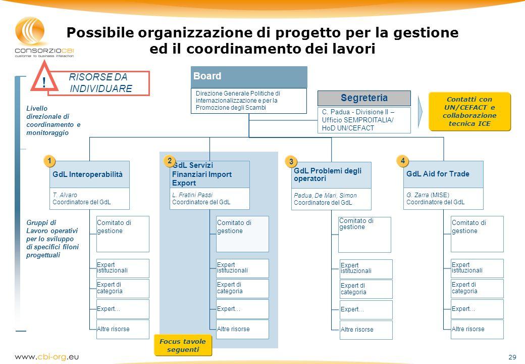 29 Possibile organizzazione di progetto per la gestione ed il coordinamento dei lavori Livello direzionale di coordinamento e monitoraggio Gruppi di L