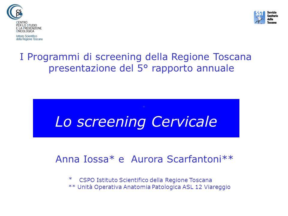 Lo screening Cervicale Anna Iossa* e Aurora Scarfantoni** * CSPO Istituto Scientifico della Regione Toscana ** Unità Operativa Anatomia Patologica ASL