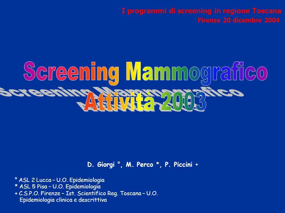 D. Giorgi °, M. Perco *, P. Piccini + ° ASL 2 Lucca – U.O.
