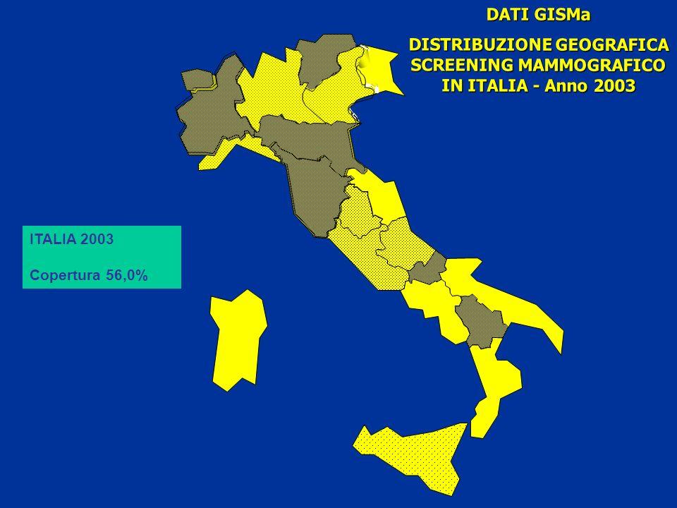 DATI GISMa DISTRIBUZIONE GEOGRAFICA SCREENING MAMMOGRAFICO IN ITALIA - Anno 2003 ITALIA 2003 Copertura 56,0%