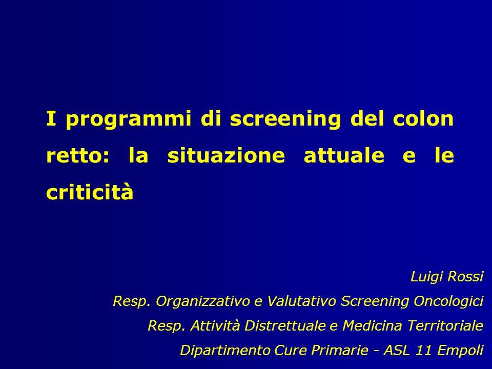 I programmi di screening del colon retto: la situazione attuale e le criticità Luigi Rossi Resp. Organizzativo e Valutativo Screening Oncologici Resp.