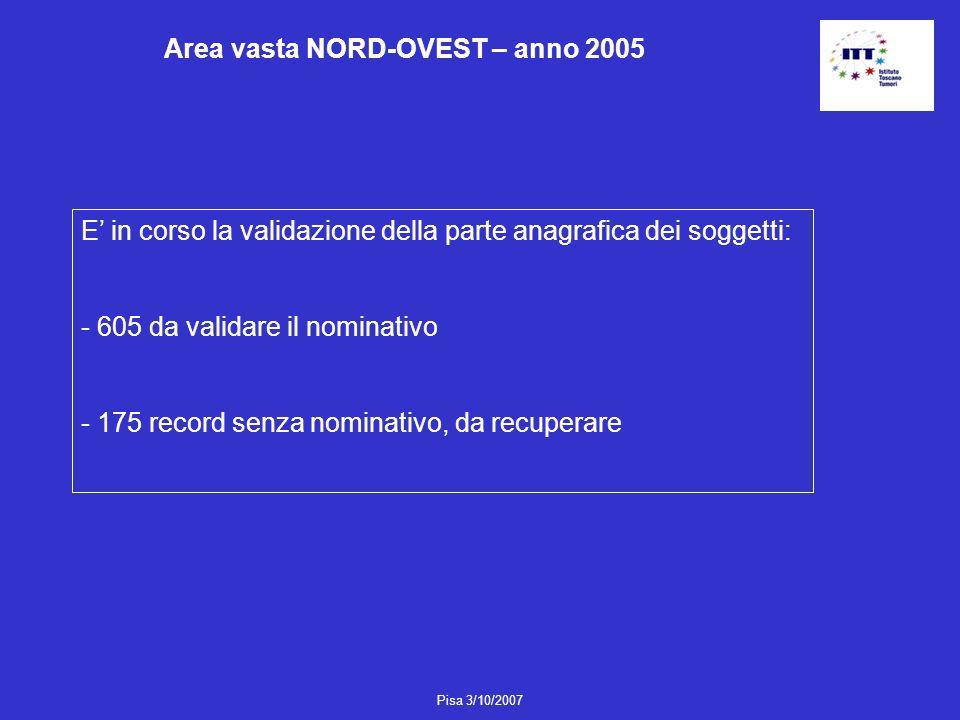 Pisa 3/10/2007 Area vasta NORD-OVEST – anno 2005 E in corso la validazione della parte anagrafica dei soggetti: - 605 da validare il nominativo - 175