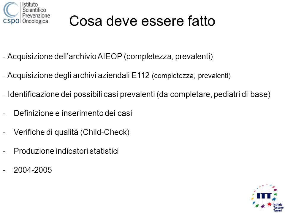 - Acquisizione dellarchivio AIEOP (completezza, prevalenti) - Acquisizione degli archivi aziendali E112 (completezza, prevalenti) - Identificazione dei possibili casi prevalenti (da completare, pediatri di base) -Definizione e inserimento dei casi -Verifiche di qualità (Child-Check) -Produzione indicatori statistici -2004-2005 Cosa deve essere fatto