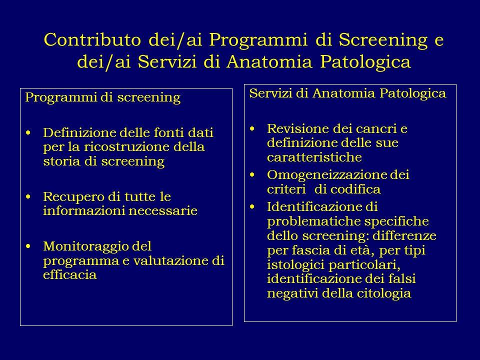 Contributo dei/ai Programmi di Screening e dei/ai Servizi di Anatomia Patologica Programmi di screening Definizione delle fonti dati per la ricostruzi