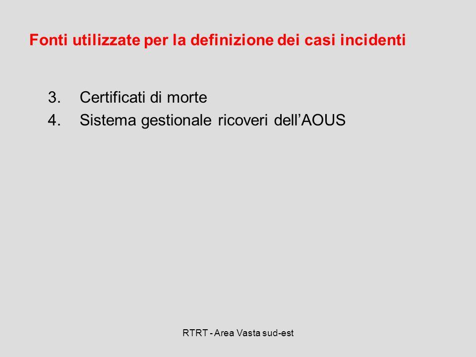 RTRT - Area Vasta sud-est 3.Certificati di morte 4.Sistema gestionale ricoveri dellAOUS Fonti utilizzate per la definizione dei casi incidenti