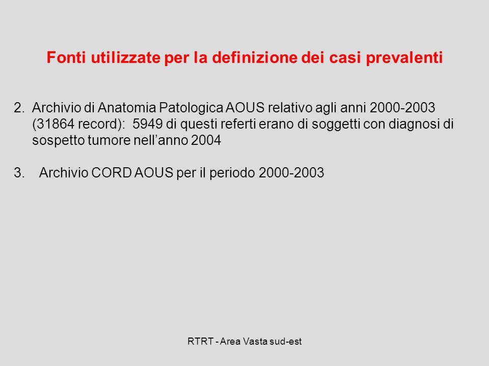 RTRT - Area Vasta sud-est Fonti utilizzate per la definizione dei casi prevalenti 2.Archivio di Anatomia Patologica AOUS relativo agli anni 2000-2003