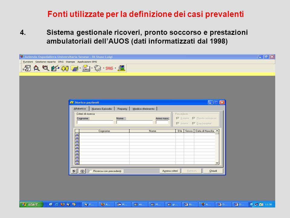 RTRT - Area Vasta sud-est 4.Sistema gestionale ricoveri, pronto soccorso e prestazioni ambulatoriali dellAUOS (dati informatizzati dal 1998) Fonti utilizzate per la definizione dei casi prevalenti
