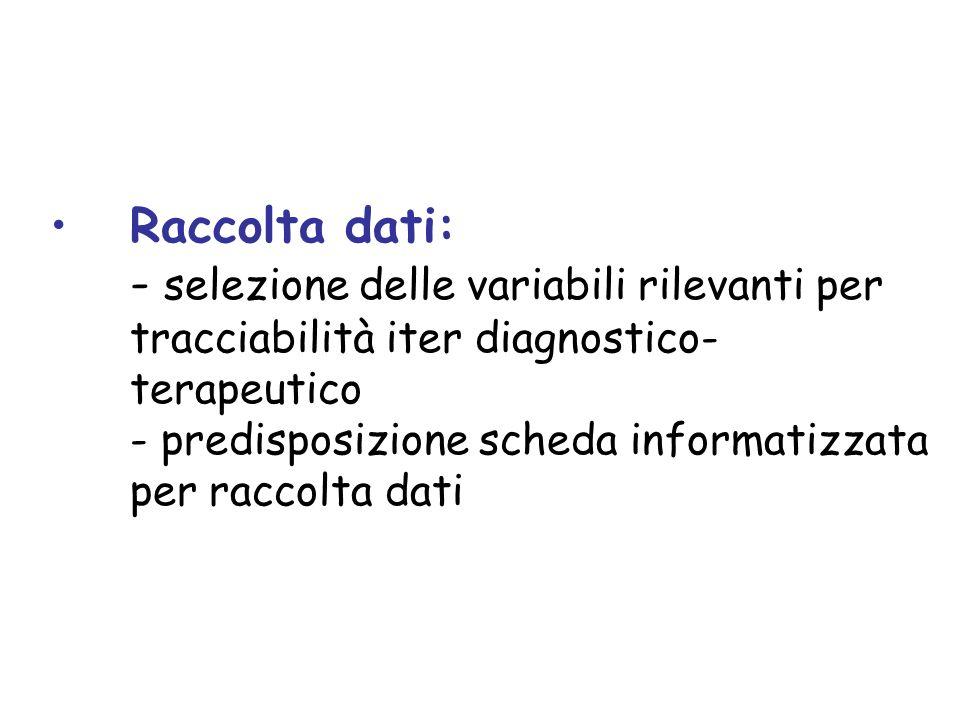 Raccolta dati: - selezione delle variabili rilevanti per tracciabilità iter diagnostico- terapeutico - predisposizione scheda informatizzata per racco