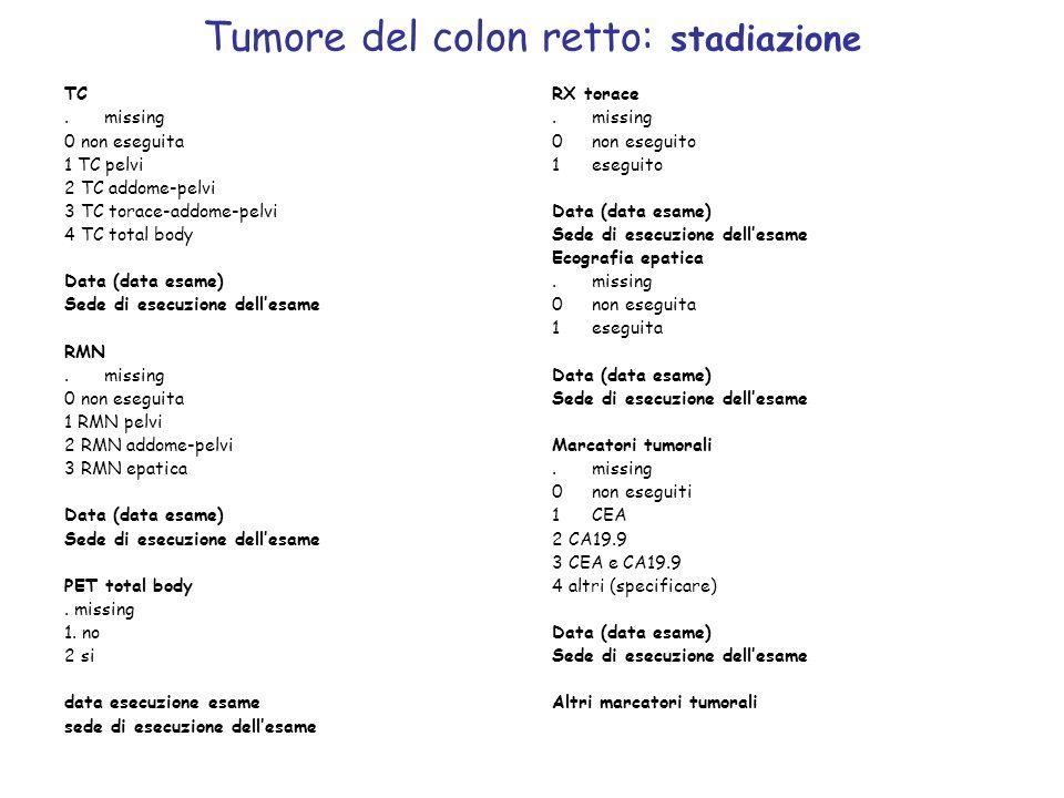 Tumore del colon retto: stadiazione RX torace.missing 0non eseguito 1eseguito Data (data esame) Sede di esecuzione dellesame Ecografia epatica.missing