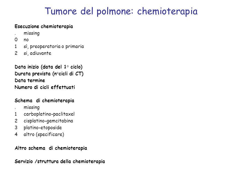 Tumore del polmone: chemioterapia Esecuzione chemioterapia.missing 0no 1sì, preoperatoria o primaria 2si, adiuvante Data inizio (data del 1° ciclo) Du