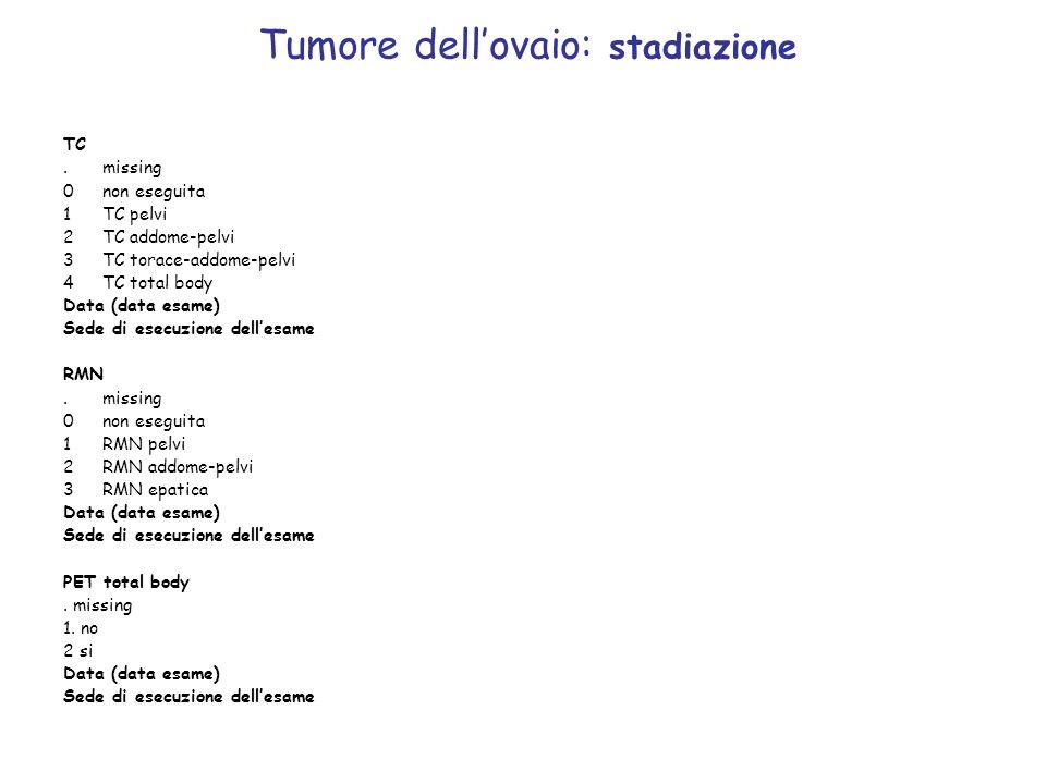 Tumore dellovaio: stadiazione TC.missing 0non eseguita 1TC pelvi 2 TC addome-pelvi 3 TC torace-addome-pelvi 4 TC total body Data (data esame) Sede di