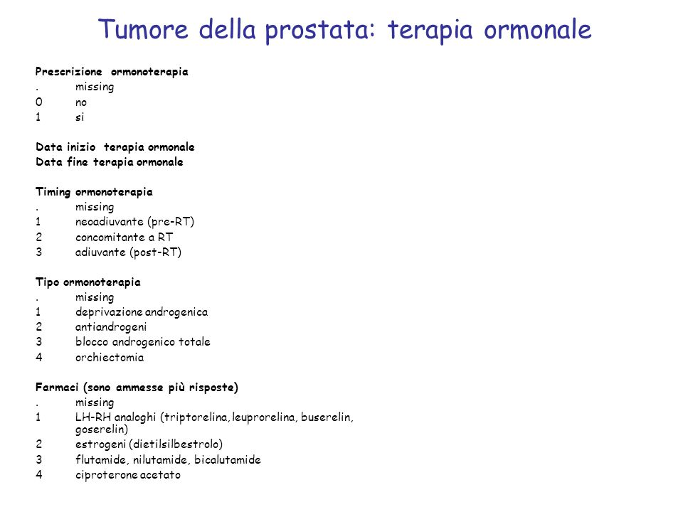 Tumore della prostata: terapia ormonale Prescrizione ormonoterapia.missing 0no 1si Data inizio terapia ormonale Data fine terapia ormonale Timing ormo