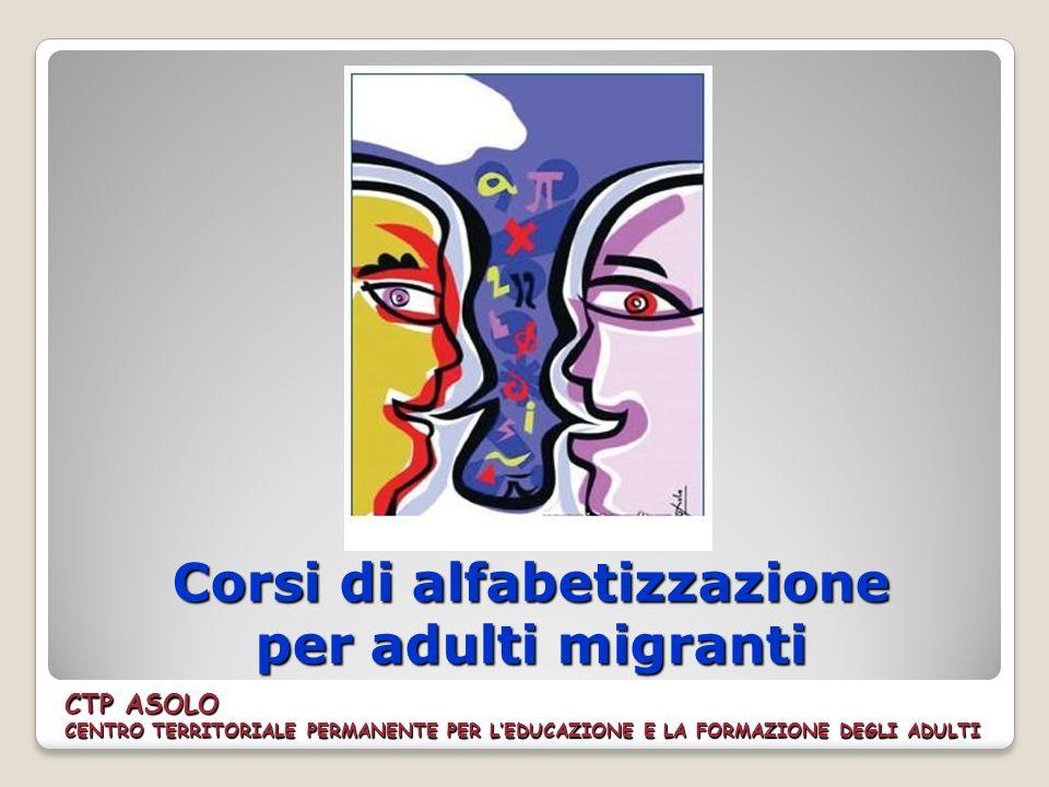Corsi di alfabetizzazione per adulti migranti CTP ASOLO CENTRO TERRITORIALE PERMANENTE PER LEDUCAZIONE E LA FORMAZIONE DEGLI ADULTI
