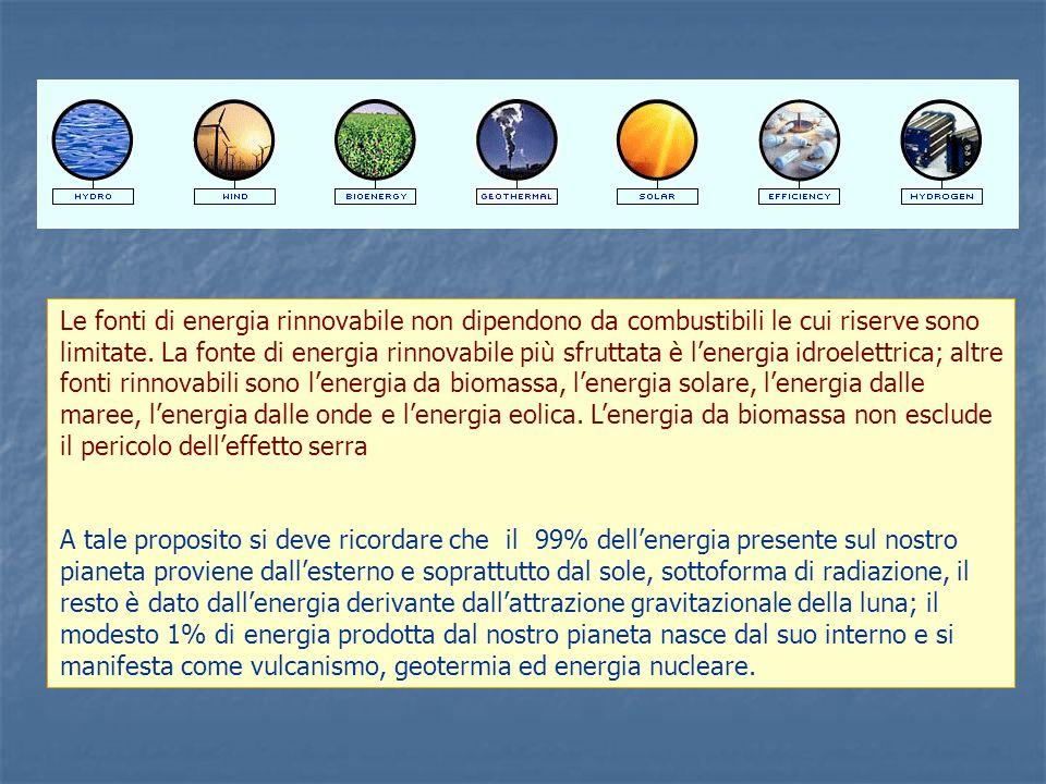 Fonti primarie utilizzate nel 2004 petrolio metano carboni rinnovabili nuclearetotali.ktep 97.046 58.128 13.305 12.601 4.120 185.200 52,4% 31,39% 7,18% 6,8% 2,23% 100% Attualmente in Italia, per soddisfare il fabbisogno energetico, si consumano circa 185 Mtep di energia totale, utilizzando diverse fonti primarie, nella tavola seguente sono specificate le quantità di energia per singole fonti, espresse in migliaia di tonnellate equivalenti petrolio, (1 tep = 10.000.000 kcal) Fonti secondarie ottenute dalla trasformazione delle fonti primarie En.