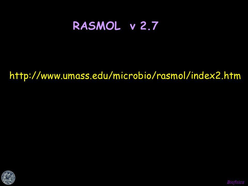 Biofisica http://www.umass.edu/microbio/rasmol/index2.htm RASMOL v 2.7